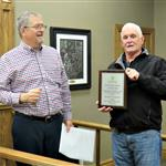 "Mayor Timmerman and Doug Clark showing Clark's ""Thank You "" plaque"